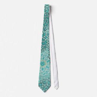 Aquamarine and Mint Flower Burst Design Tie