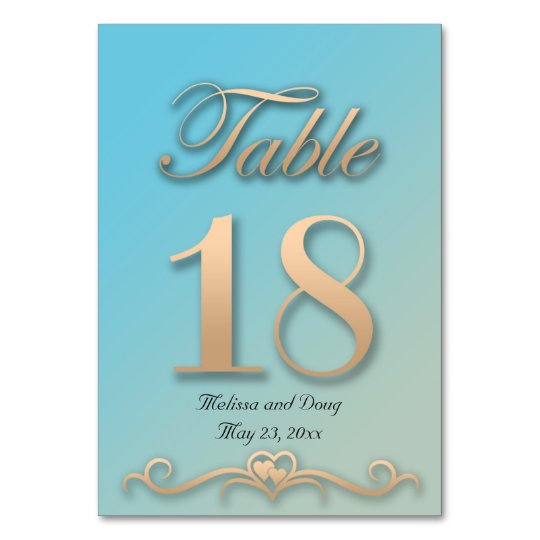 Aquamarine and Peach Wedding Table Card - Number18