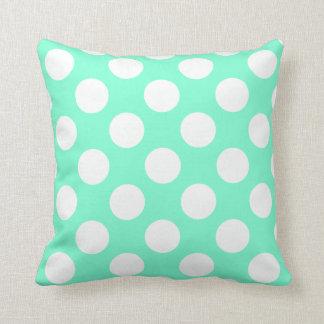 Aquamarine and White Dots Cushion