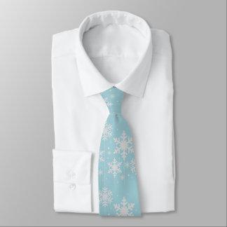 Aquamarine and White Snowflakes Winter Wedding Tie