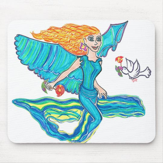 Aquamarine Angel Mouse Pad