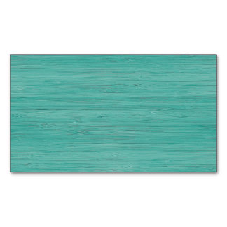 Aquamarine Bamboo Wood Grain Look Magnetic Business Card