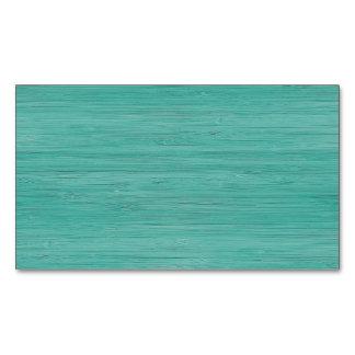 Aquamarine Bamboo Wood Grain Look Magnetic Business Cards