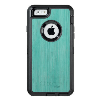Aquamarine Bamboo Wood Grain Look OtterBox Defender iPhone Case