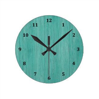Aquamarine Bamboo Wood Grain Look Round Clock