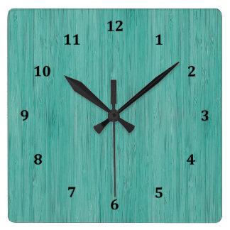 Aquamarine Bamboo Wood Grain Look Square Wall Clock