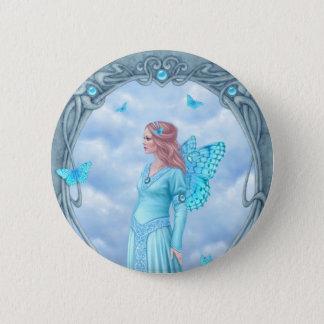 Aquamarine Birthstone Fairy Button Badge