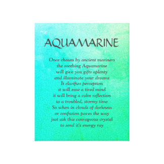 Aquamarine birthstone - March poem art canvas