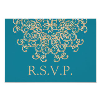 AQUAMARINE BLUE AND GOLD INDIAN RESPONSE RSVP CARD