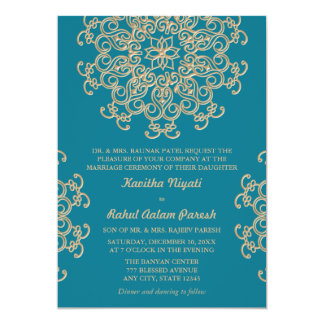 AQUAMARINE BLUE AND GOLD INDIAN STYLE WEDDING 13 CM X 18 CM INVITATION CARD
