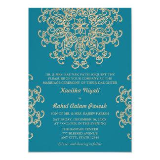 AQUAMARINE BLUE AND GOLD INDIAN STYLE WEDDING 13 CM X 18 CM INVITATION CARD