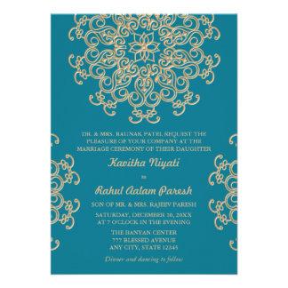 AQUAMARINE BLUE AND GOLD INDIAN STYLE WEDDING CUSTOM INVITATION