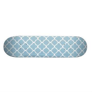 Aquamarine Blue and White Quatrefoil Moroccan Patt Skate Board Decks