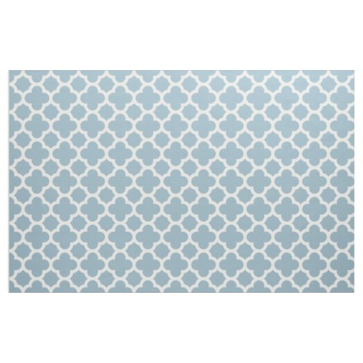 Aquamarine Blue Classic Quatrefoil Pattern Fabric