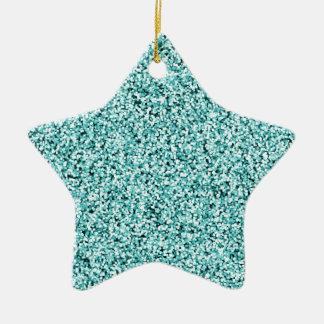 Aquamarine Blue Faux Glitter Ceramic Star Decoration
