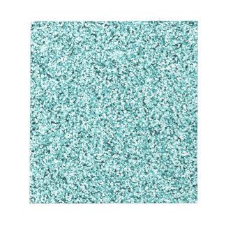 Aquamarine Blue Faux Glitter Notepad