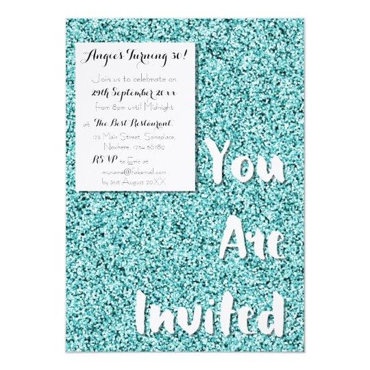 Aquamarine Blue Faux Glitter Party Invitation