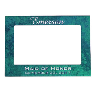 Aquamarine Bridal Party Iridescent Green Teal Blue Magnetic Picture Frame
