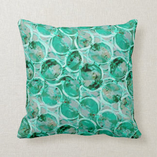 Aquamarine bubbles mosaic cushion