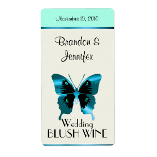 Aquamarine Butterfly Wedding Mini Wine Labels
