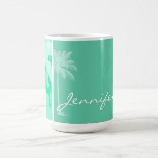 Aquamarine Camo; Camouflage; Palm Basic White Mug
