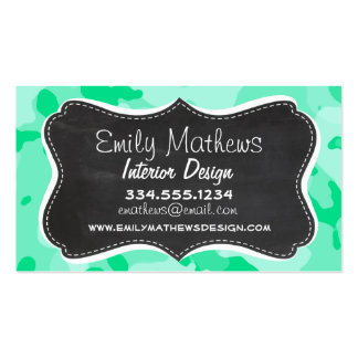 Aquamarine Camo; Camouflage; Retro Chalkboard Business Card