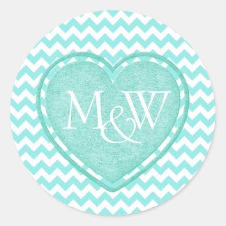 Aquamarine Chevron Monogram Wedding Round Sticker