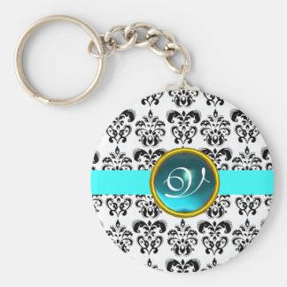 AQUAMARINE DAMASK MONOGRAM,blue turquase Basic Round Button Key Ring