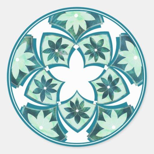 Aquamarine Decorative Floral Tiles Sticker