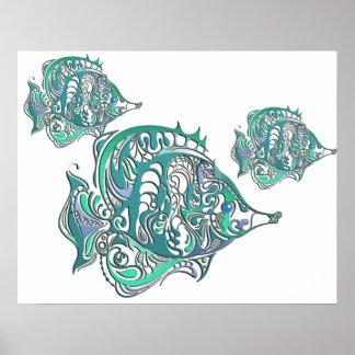 Aquamarine Fantasy Swirly Fish Poster