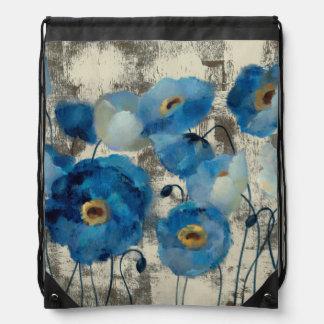 Aquamarine Floral Drawstring Bag