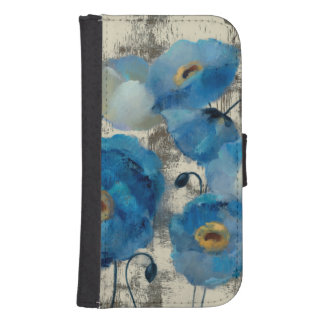 Aquamarine Floral Samsung S4 Wallet Case