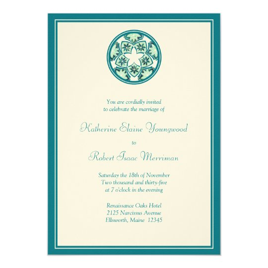Aquamarine Floral Tiles Wedding Invitation
