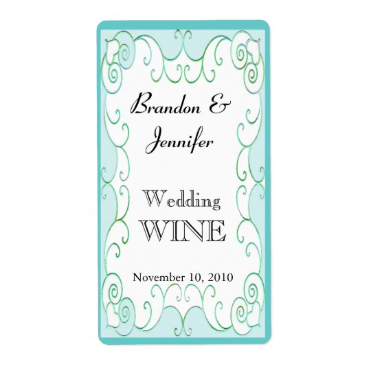 Aquamarine Flourish Wedding Mini Wine Labels