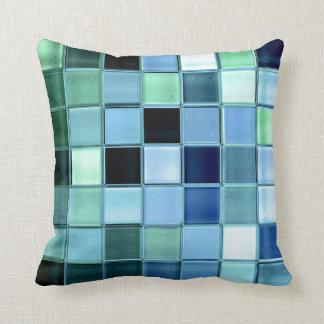 AquaMarine glass mosaic custom home decor Throw Pillow