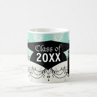 aquamarine green and cream intricate damask mug