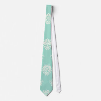 aquamarine green and cream intricate damask tie