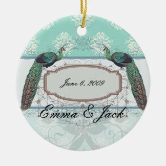 aquamarine green and cream peacock damask christmas ornament