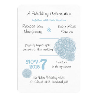 Aquamarine Hydrangea Wedding Invitation