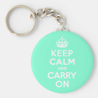 Aquamarine Keep Calm and Carry On Basic Round Button Key Ring