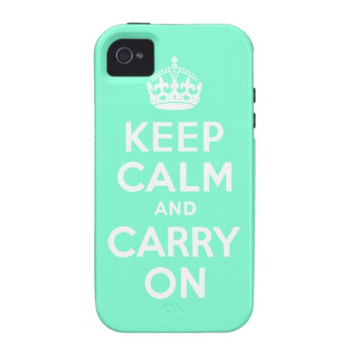 Aquamarine Keep Calm and Carry On Case-Mate Case iPhone 4/4S Cover