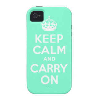 Aquamarine Keep Calm and Carry On Case-Mate Case Vibe iPhone 4 Case