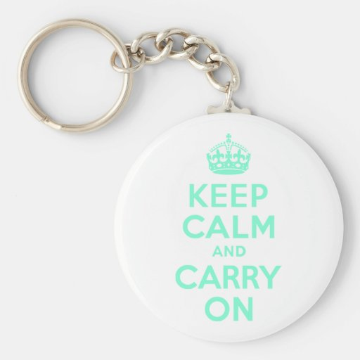 Aquamarine Keep Calm and Carry On Key Chain