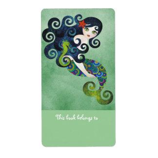 Aquamarine Mermaid Bookplates Labels