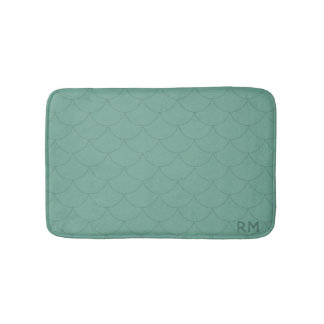 Aquamarine Mermaid Scale Pattern Bath Mat