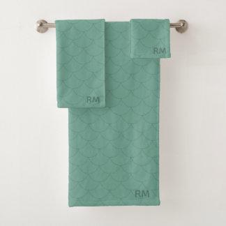 Aquamarine Monogram Mermaid Tail Pattern Towel Set