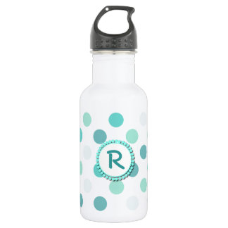 Aquamarine Polka Dot Monogram 532 Ml Water Bottle