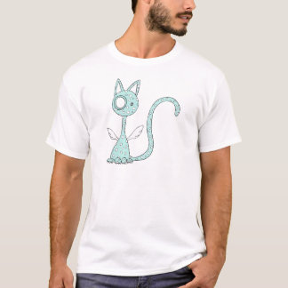 Aquamarine polka-dotted cat with wings T-Shirt