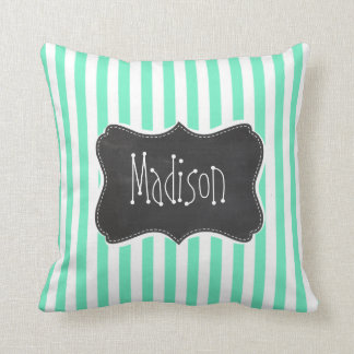 Aquamarine Seafoam Green Stripes; Chalkboard look Throw Pillow