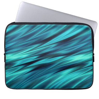 Aquamarine silky waves laptop sleeve